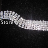 (free Express shipping) 10 meters/lot, 5 row Rhinestone Chain with SS16 Crystal in Sliver Setting and 20mm Width