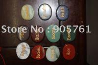 Free shipping by FedEx UPS DHL engraved semi precious stone word stones multi color