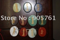 Free shipping by FedEx UPS DHL engraved semi precious stone word stones multi color