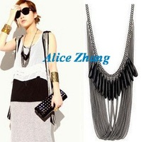 Free shipping~Wholesale Fashion Jewelry, Black Gem Multi Tassel necklace,Grace and elegance Holiday party necklace~008~