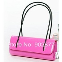Fashion patent leather evening bags women bag! leisure handbag, ladies' pu shoulder bag, rose red, white handbags Free shipping