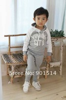 2015 Newest Spring Autumn baby clothes sets kids clothes sets gray colors 100% cotton Free shipping
