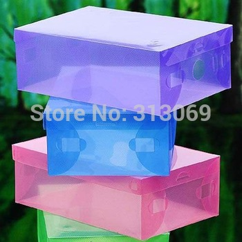 Free shipping, Clear 100% Plastic Shoe Boxes ,wholesale 10pcs/LOT