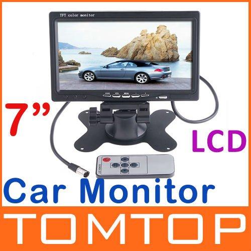 "2Pcs/Lot Professional 7"" Color TFT LCD Car Rearview Monitor for DVD Camera VCR,free shipping dropshipping Wholesale(China (Mainland))"