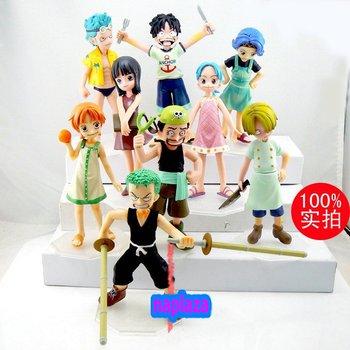 Anime One Piece Childhood Luffy Sanji Robin  Zoro Nami Usopp Franky  Figure set of 9 pcs free shipping