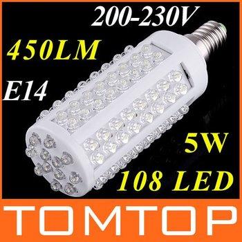 AC100-120V/200-230V led light 108 leds corn light LED bulb lamp cold white led lighting spotlight free shipping