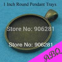 1 Inch Round Pendant Setting, 25mm Antique Bronze Pendant Blank, Brass Bezel Pendant Tray Setting