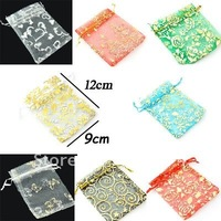 Free Shipping 500Pcs/Lot 9*12cm printing Gift Bags Gauze Cloth Packing Shopping Pouches