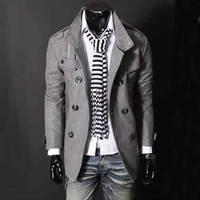 Big Fashion Mens Wool Trench Coat Winter Jacket Overcoat Outerwear Jackets Slim Pea Coat Man High Quality Europe Stylish Spring
