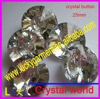 25mm fashion crystal button,sew on button,sew on crystal shine as austria rhinestone button 3015