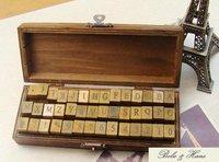 New 42 pcs/set Creative letters & number stamp set/ wooden box / Decorative DIY work /Wholesale
