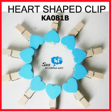 WHOLESALE Clip Exotic Heart Shaped Wood BLUE Romantic Wedding Gift Decoration Photo Snack Memo Girl Cute 200pcs/lot say hi 081B(China (Mainland))