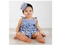 Baby girl flower rompers ruffle bodysuits pink and blue color 3pcs/lot  free shipping hot sell