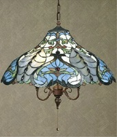 Free Shipping,18 inch Tiffany Blue Pendant Lamps,Stained Glass Lights,tiffany style chandeliers,YSL-TD183017
