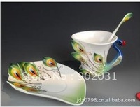 Free shipping --Valentine's day gift ideas enamel porcelain peacock train coffee cup