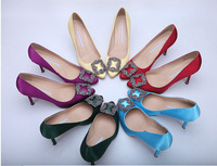 Spring Summer Brand Sexy High Heels Pumps women's Pointed Toe crystal Blue Red pink Black satin shoes size 34-41