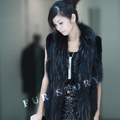 Real rabbit fur vest with raccoondog fur collar knit gilet coat vest Black
