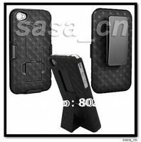 For iPhone 4S 4GS 4G Rubberized Hard Shell Case Slide-in Holster Combo Cover With Built-in Kickstand Free Shipping by DHL or EMS