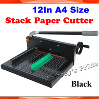 Black New Heavy Duty All Metal Ream Guillotine 12inch A4 Size Stack Paper Cutter Cutting Machine Printing Office Equipment