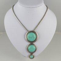 Tibetan Silver Turquoise Stone Vintage Pendant Necklace/Retro Jewellery/Free Shipping N013