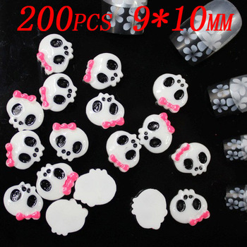 200pcs 10x9mm Lovely skull Nail jewelry Manicure 3d nail jewelry