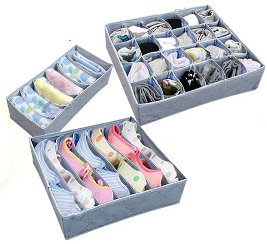 envío gratis 3 piezas de un juego plegable de bambú caja de fibra de carbón vegetal caja de almacenamiento para sujetador ropa interior calcetines corbata e039