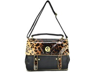 4 Colors Free Shipping 2013 Women Handbags Leopard Print / Colour Block Satchel Messenger Bag Fashion Shoulder Bags QQ1106