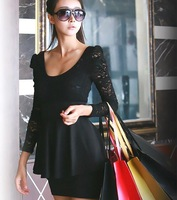 lace black red long sleeve big size sexy casual dress women dresses new fashion 2014 spring summer drop shipping