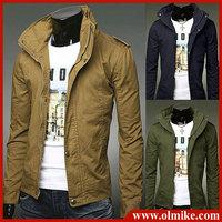 2014 New Style Fashion slim men's epaulet motorcycle jacket Casual China Collar outerwear men Jackets plus size Asia S-XXXL C512