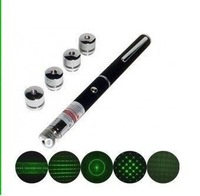 532nm 20mw green laser pointer green laser pen with5 amazing Pattern Heads free shipping