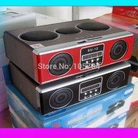 Free shipping Mini Sound box MP3 player Mobile Speaker boombox FM Radio SD Card reader USB SU-12 with Retail box