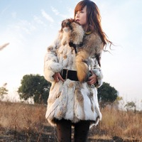 (Free shipping)New Real Rabbit Fur Coat Winter Fashion Women's Outerwear With Fox Fur Collar Supply For Ladies