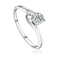Ladies' Charm Platinum Plated & 0.5 CT Round Brilliant Cut Grade AAA Solitaire Cubic Zircon Diamond Engagement Ring (0300)