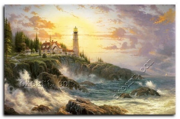 "Free shipping Clearing storms Thomas kinkade Art print on canvas gift 20x24""(China (Mainland))"