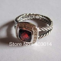 Free Shipping 100%  sterling silver Jewelry , Designer Silver 7mm Garnet Cubic Zircion Ring