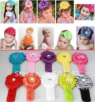 Free Shipping 20pcs Crochet Headbands + 20pcs Gerbera Daisy Flowers/Baby Hairbows,Headbows, girl's headband,Head Accessories