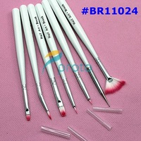 Freeshipping-7pcs Nail Art Design Brushes Gel Set Painting Draw Pen Polish White Handle wholesales SKU:G0045X