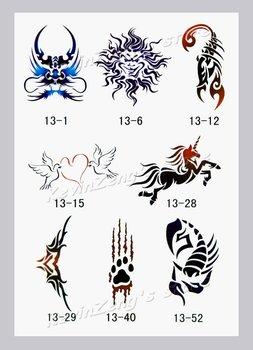 Grátis frete - Airbrush tatuagem temporária estênceis modelo - Book13 - 53 projetos Glitter Tattoo - Body Painting - reutilizável