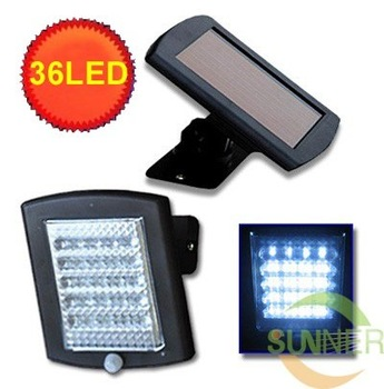 Solar White 36 LED  SECURITY LIGHT SHED GARAGE MOTION SENSOR light