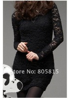 Free shipping 2014 Hot Sale sexy lace Women black dresses,Fashion Slim long sleeve dresses for women