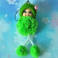 Free Shipping Christmas Gift Cheap Mini Plush Toy Pretty Girl Cell Phone Strap /key chains various Style kid gift bag hook 6pcs