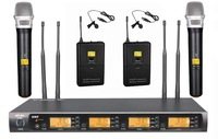 Professional UHF 4 Channel Wireless Microphone System DJ & Karaoke Microphone System Handheld & Lapel & Headset microphone