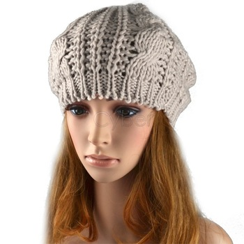 fashion pure color Braided lady's Crochet beret hat knitted cap 4 colors 3306