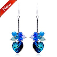 Promotion 2014 Newest Austrian Crystal Heart Earrings Womens Fashion Jewelry Wholesale 10pairs/lot Free Shipping