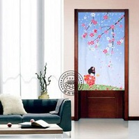 room divider Curtain fabric Japanese screen cut off trade lovely pastoral lace geomantic omen door curtain cherry blossom season
