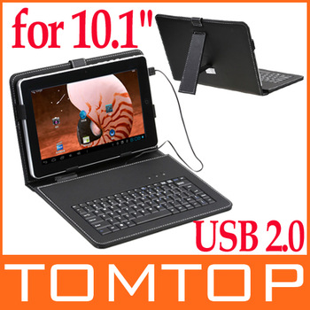 "USB Keyboard & Leather Cover Case Bracket  Bag for 10.1"" Tablet PC MID PDA,Free Shipping+Drop Shipping Wholesale"