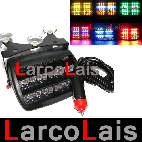 18 LED Strobe Lights with Suction Cups Car Fireman Flashing Emergency Warning Yellow White Blue Amber Red Green(China (Mainland))