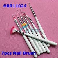 100sets/lot 7pcs Nail Art Design Brushes Gel Set Painting Draw Pen Polish White Handle wholesales SKU:G0045XXXX