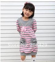 Wholesale HOT 5pcs/lot Skirt suit Korean stripe fashion dress / lower price 2 color girls dresses(Pink & blue)
