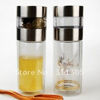 260ml Fuguang luxury crystal double wall glass cup and Two Lids .with Tea Infuser .Printing logo is available